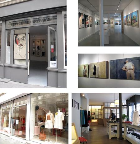 Espace Beaurepaire y vistas de las tiendas Les Petits Hauts y agnes b.