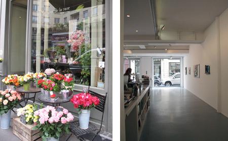 Derecha: floristeria Au nom de la rose. Izquierda: Galería Jean Fournier