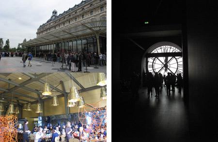 Vista exterior del Musèe d'Orsay. Dentro del Cafe Campana. Vista de uno de los relojes de la antigua estación d'Orsay, en la planta quinta del Museo