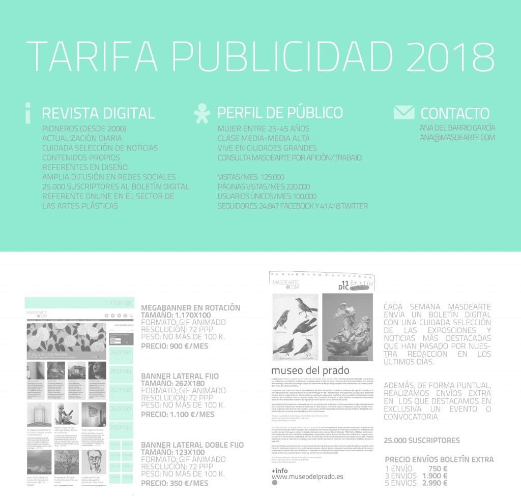 Tarifas de publicidad masdearte 2018