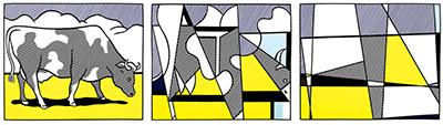 Roy Lichtenstein. Cow going abstract