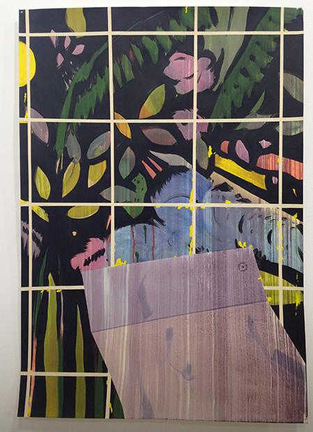 Miki Leal  Le jardin des plantes /El Grand Tour IV), 2016  Acuarela y acrílico sobre papel 100 x 70 cm.  Galería Rafael Ortiz