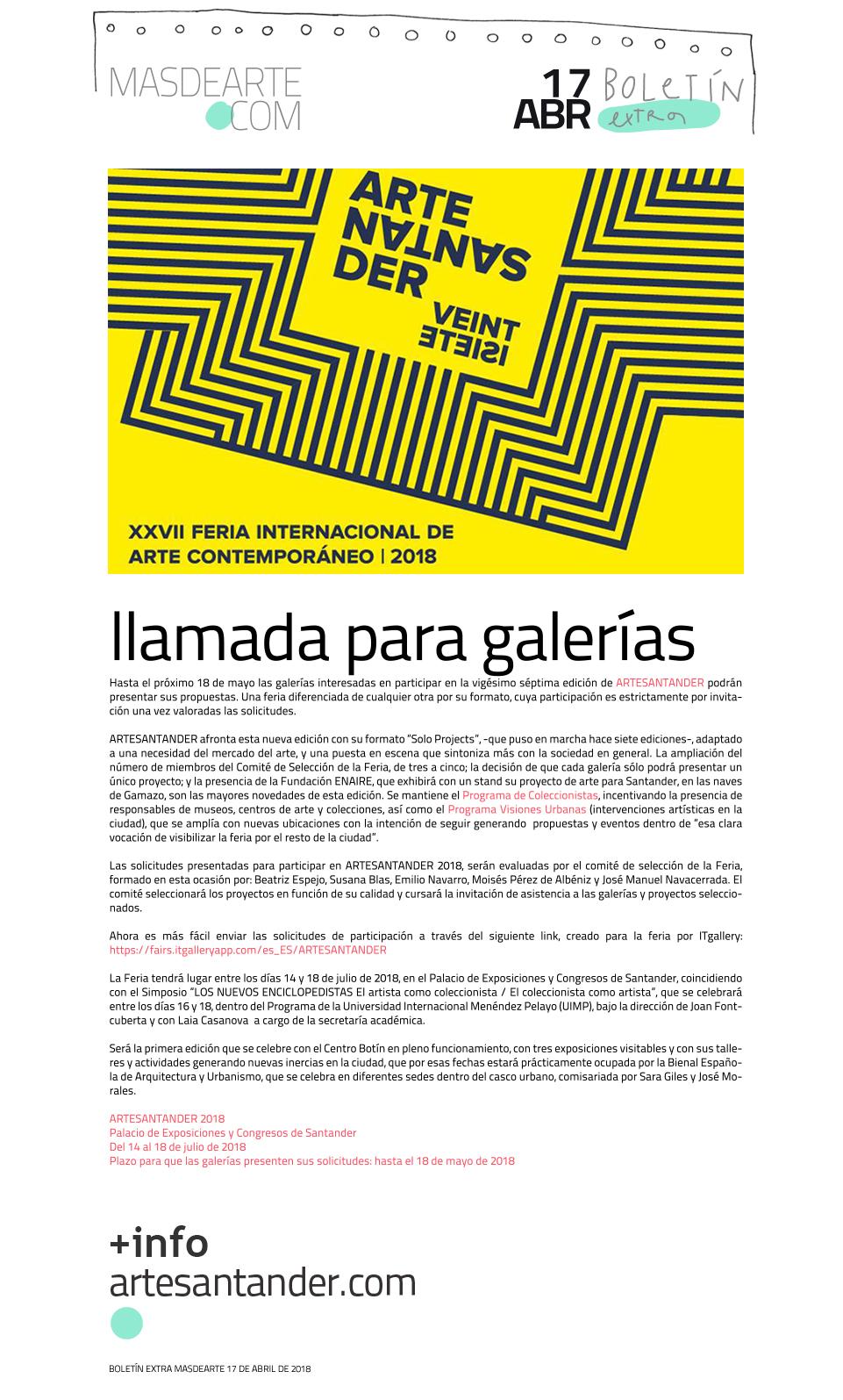 Extra masdearte: abierta la convocatoria para galerías  que quieran participar en ARTESANTANDER 2018