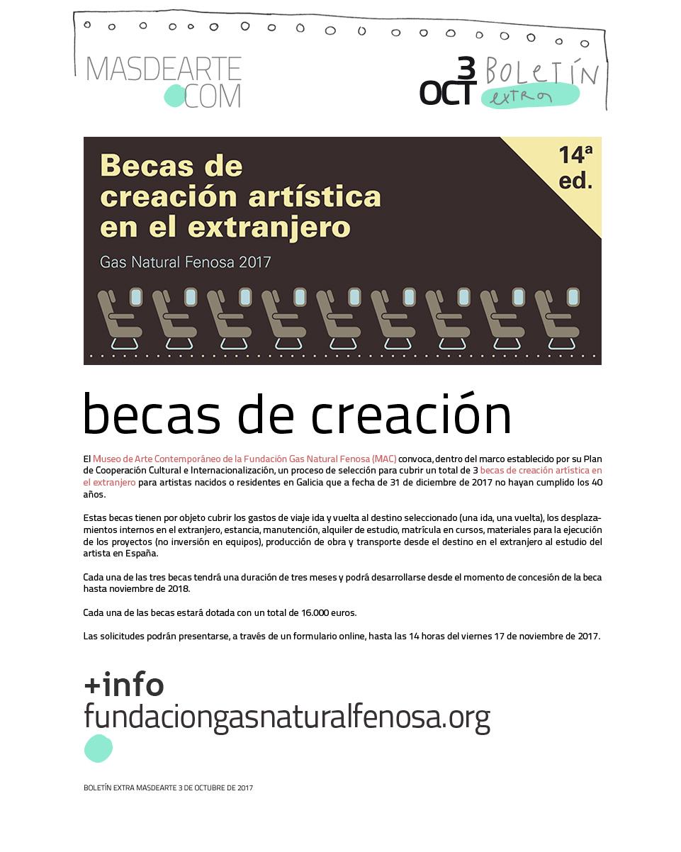 Becas de creación artística  en el extranjero del Museo de la Fundación Gas Natural Fenosa (MAC).
