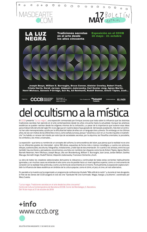"""""""La luz negra. Tradiciones secretas en el arte desde los años cincuenta"""" CCCB (Barcelona) Del 16 de mayo al 21 de octubre de 2018"""