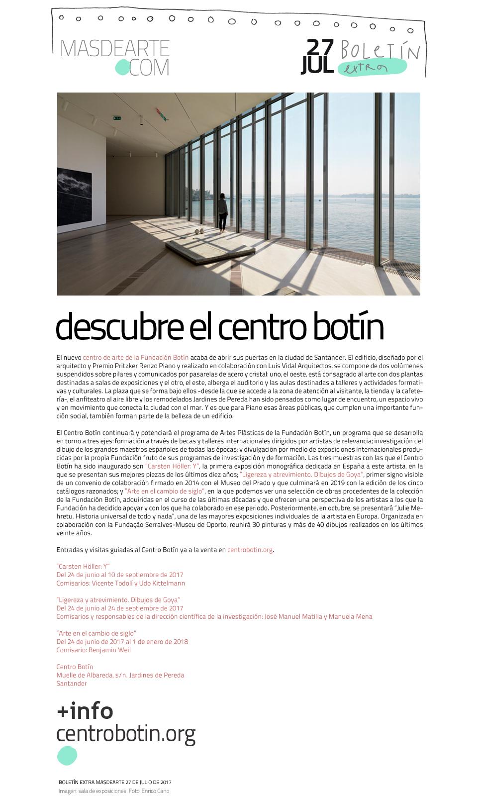 Este verano no dejes de visitar el nuevo centro de arte contemporáneo en  Santander.  Entradas y visitas guiadas al Centro Botín ya disponibles en su web: centrobotin.org