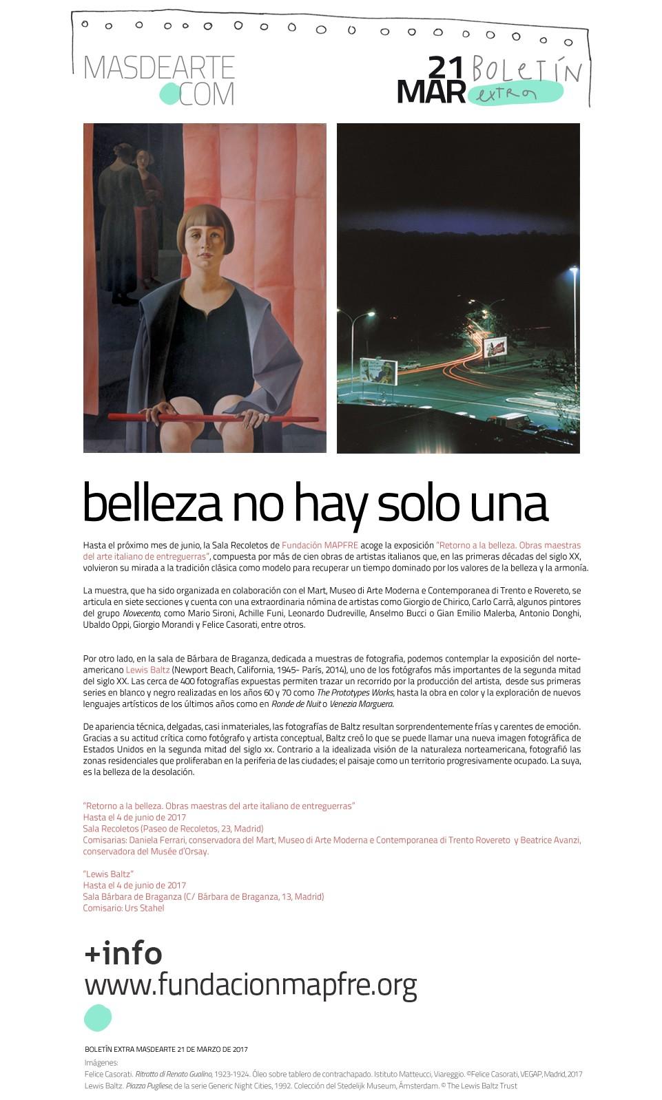 Exposiciones en las salas de Fundación MAPFRE en Madrid:  Retorno a la belleza. Obras maestras del arte italiano de entreguerras y Lewis Baltz. Abiertas hasta el 4 de junio de 2017