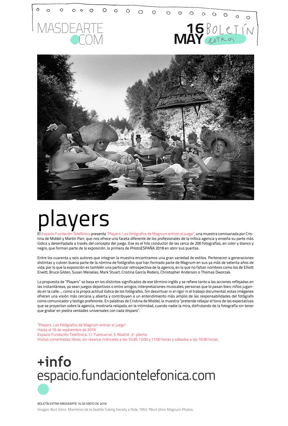 """""""Players. Los fotógrafos de Magnum entran al juego"""".  Espacio Fundación Telefónica, hasta el 16 de septiembre de 2018"""