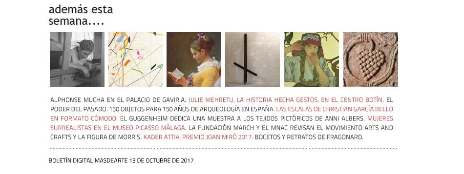 Julie Mehretu, Fragonard, Anni Albers, Alphonse Mucha... Noticias masdearte.com