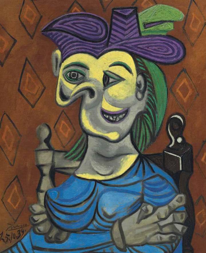 Pablo Picasso. Mujer sentada, vestido azul, 1939