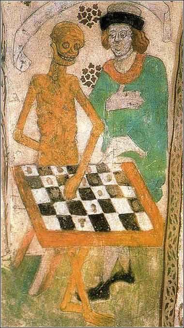 Albertus Pictor. La muerte jugando al ajedrez. Fresco de la iglesia de Täby, Uppland