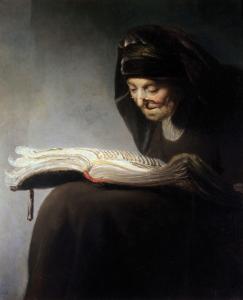 Rembrandt. Anciana leyendo un libro, hacia 1629