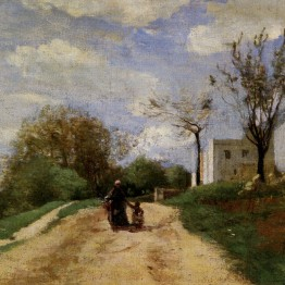 Pintores románticos. Corot. The Path Leading to the House