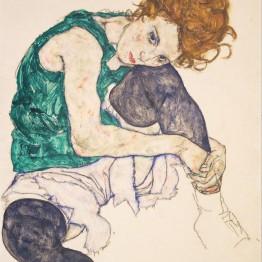 Schiele. Mujer sentada con la pierna izquierda levantada, 1917