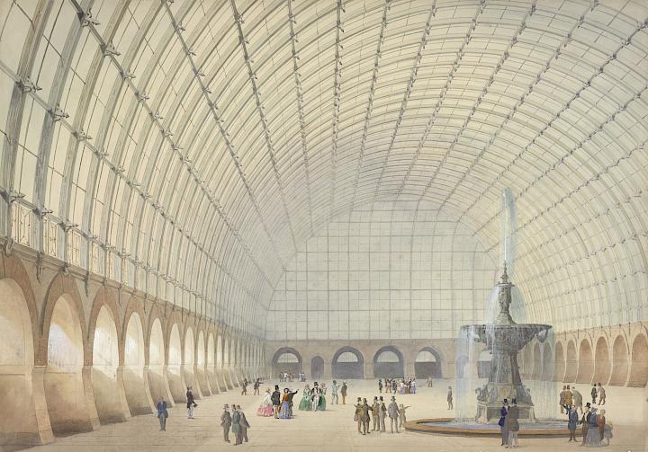 Sprenger. Interior del Hall de Ejercicios Militares, Exposiciones e Industria de Viena, 1853