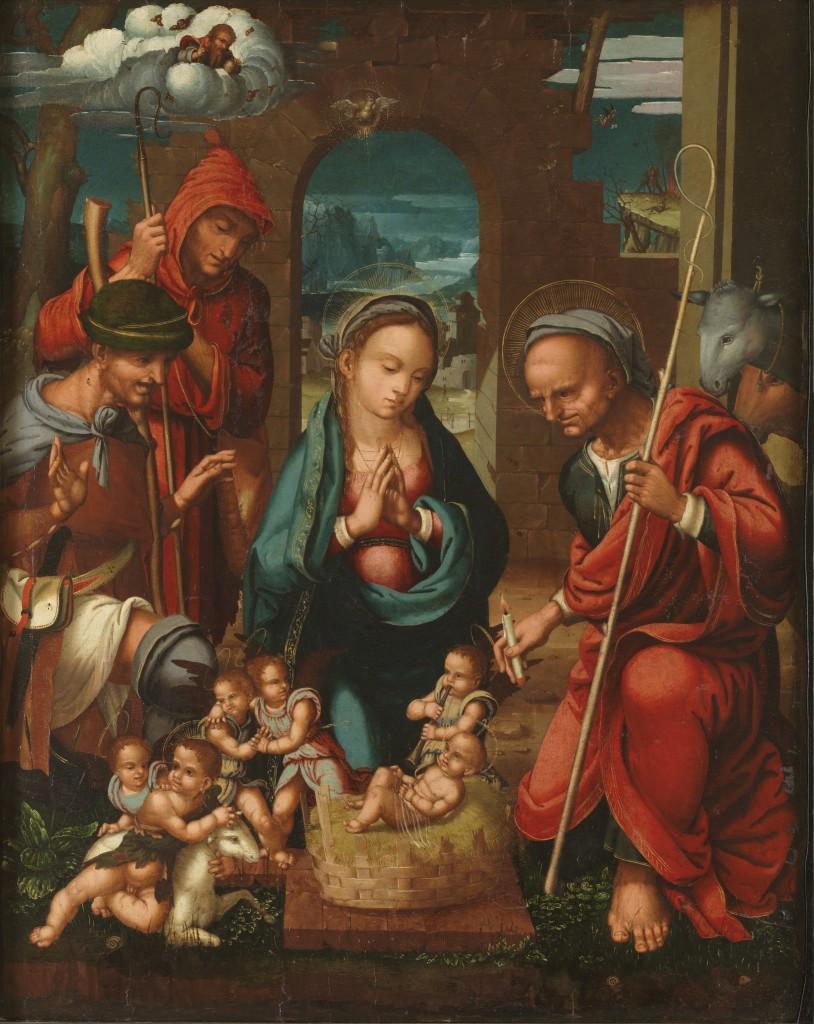 Felipe Pablo de San Leocadio. Adoración de los pastores, hacia 1539. Madrid, Museo Nacional del Prado. Donación Plácido Arango