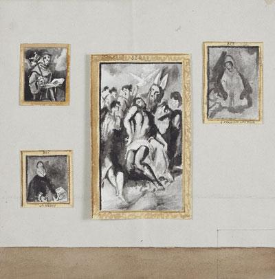 Proyecto de distribución de los lienzos en la Sala de El Greco, 1912. Archivo Museo Nacional del Prado