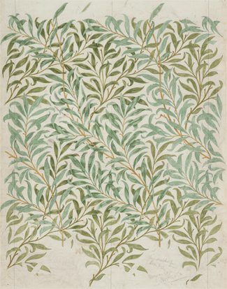 William Morris, Dibujo para el papel pintado Willow Bough, 1887. The Whitworth, Manchester