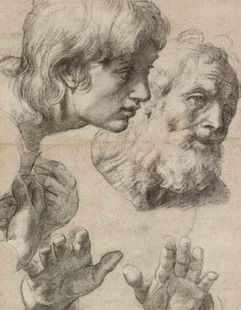 Rafael Sanzio. Estudio de cabezas y manos de dos Apóstoles, 1515-1520