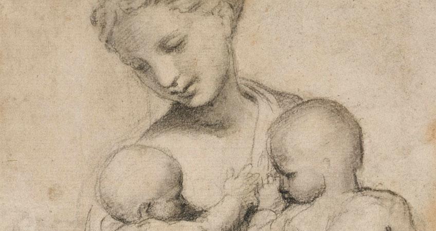 Rafael Sanzio. Estudio para Caridad, hacia 1519