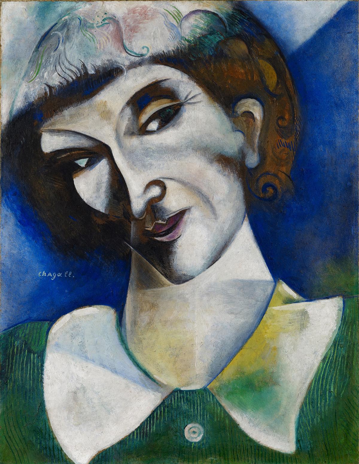 Marc Chagall. Portrait de l'artiste, 1914. Depósito permanente en el Kunstmuseum Basel 2004. Fundación Im Obersteg
