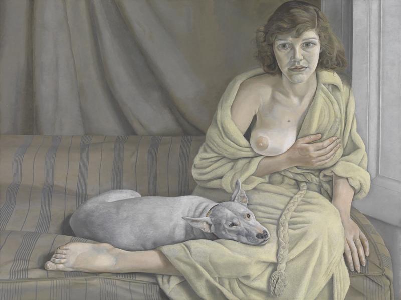 Lucian Freud. Muchacha con perro blanco, 1950-1951