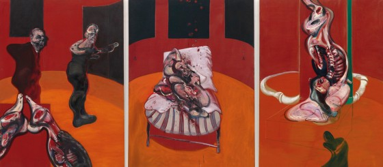 Francis Bacon. Tres estudios para una crucifixión (Three Studies for a Crucifixion), marzo, 1962. Guggenheim Museum, Nueva York.