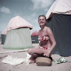Robert Capa. Woman in a bikini, Deauville, France], August 1951
