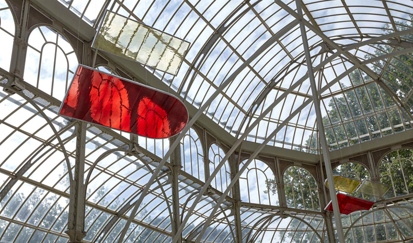 Rosa Barba. Registros de tránsito solar. Vista de la exposición en el Palacio de Cristal