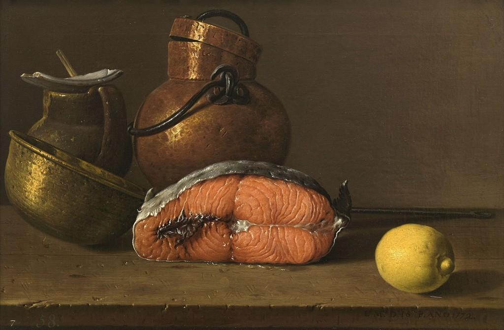 Luis Egidio Meléndez. Bodegón con salmón, limón y recipientes, 1772. Museo Nacional del Prado