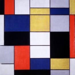 Piet Mondrian. Grande composizione A con nero, rosso, grigio, giallo e blu, 1919-20