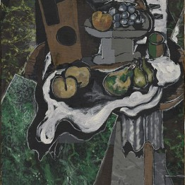 Georges Braque. Frutas sobre mantel y frutero (Fruits sur une nappe et compotier), 1925