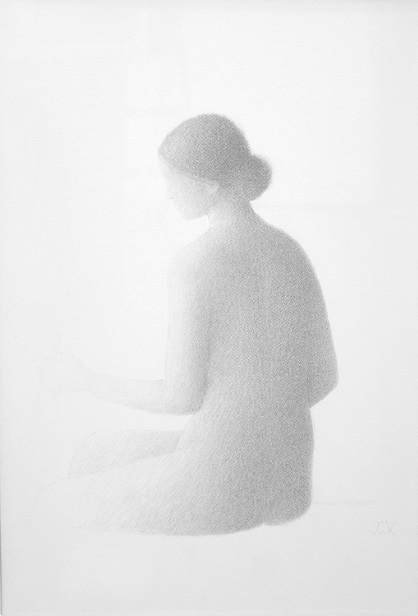 Xavier Valls. Desnudo de espaldas, 1977. Xavier Valls, dibujos a lápiz en la galería Fernández Braso
