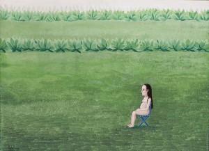 Isabel Villar. Embarazada en campo verde, 1970