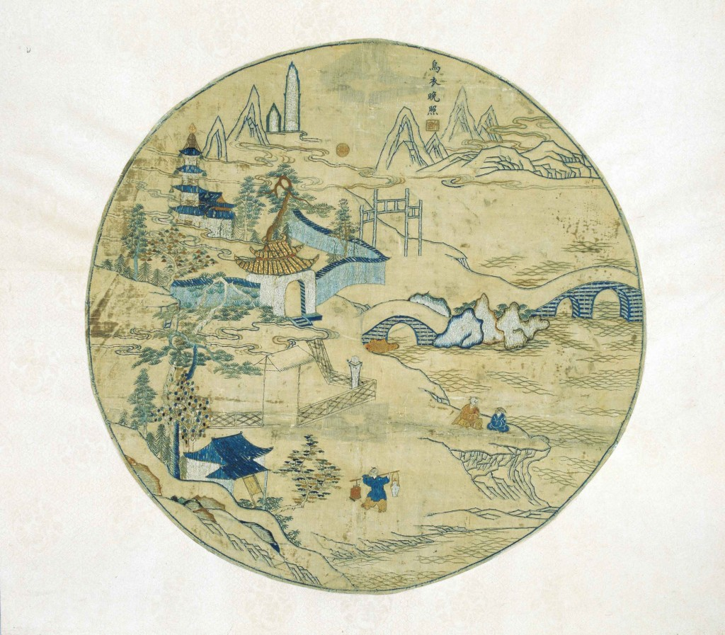 Wuyi (Nanjing) al anochecer, bordado de la familia Gu, finales del siglo XVI - principios del siglo XVII. © Nanjing Museum