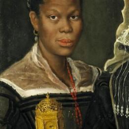 Annibale Carraci. Retrato de mujer africana con reloj, hacia 1585