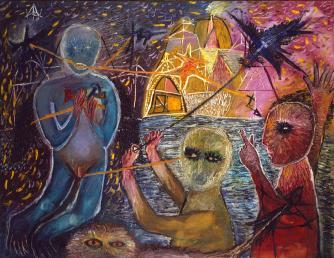 Antoni Tàpies. Composició amb figures (Composición con figuras), 1947