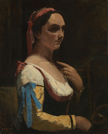 Jean-Baptiste-Camille Corot. 'Italian Woman, or Woman with Yellow Sleeve (L'Italienne), hacia 1870. © The National Gallery, London