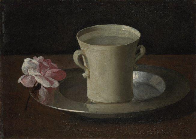 Francisco de Zurbarán. Vaso de agua y rosa, hacia 1630. National Gallery, Londres