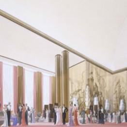 Roger-Henri Expert y Richard Bouwens van der Boijen.  Transatlántico Normandía: vista de interior del gran salón, 1933-1934