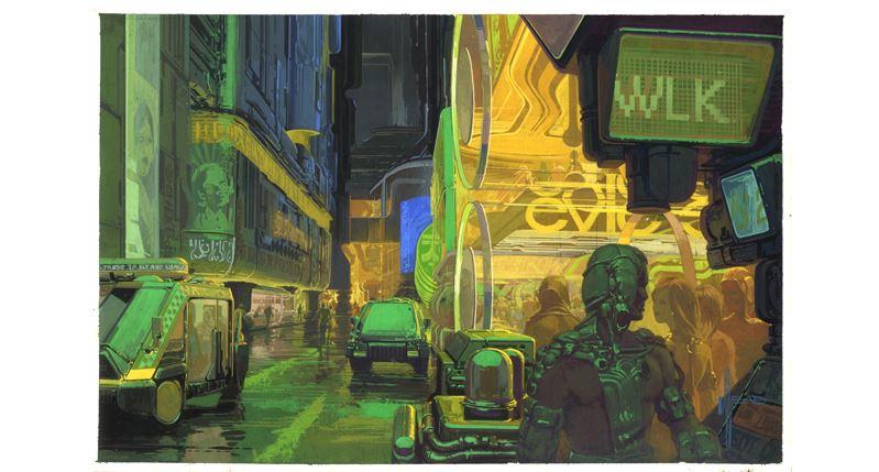 Syd Mead. Ilustración para Blade Runner, 1980.