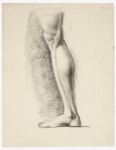 José de Madrazo y Agudo. Estudio de pierna masculina derecha, siglo XIX