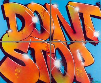 Pastron#7. Don't stop. Aerosol sobre lienzo, 162 x 200 cm. (4 lienzos de 81 x 100 cm. cada uno)