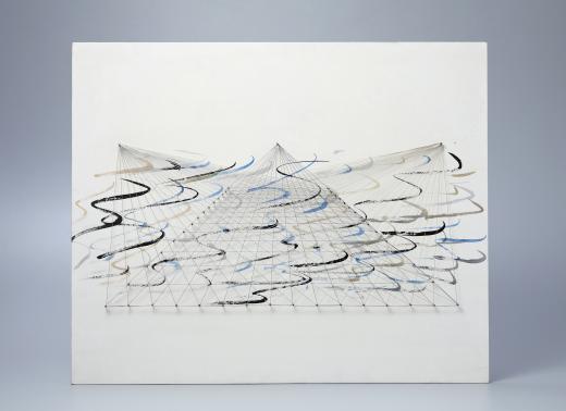 Esther Ferrer. Serie Proyectos espaciales piramidales sobre el muro, años setenta