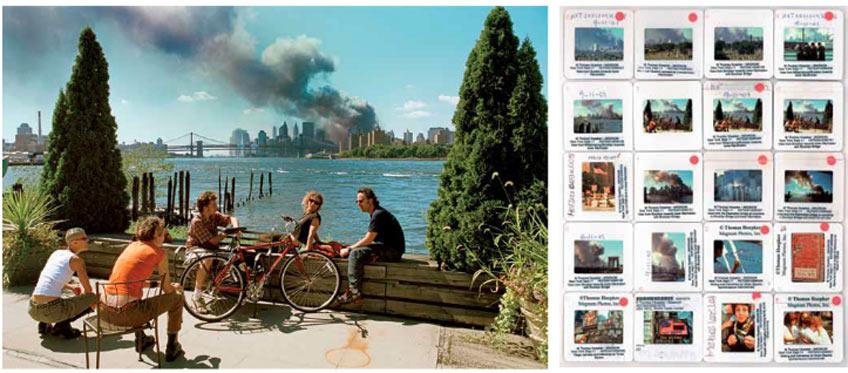 Diapos a modo de hoja de contacto. 11-S. Nueva York. Septiembre 2001 © Thomas Hoepker / Magnum Photos