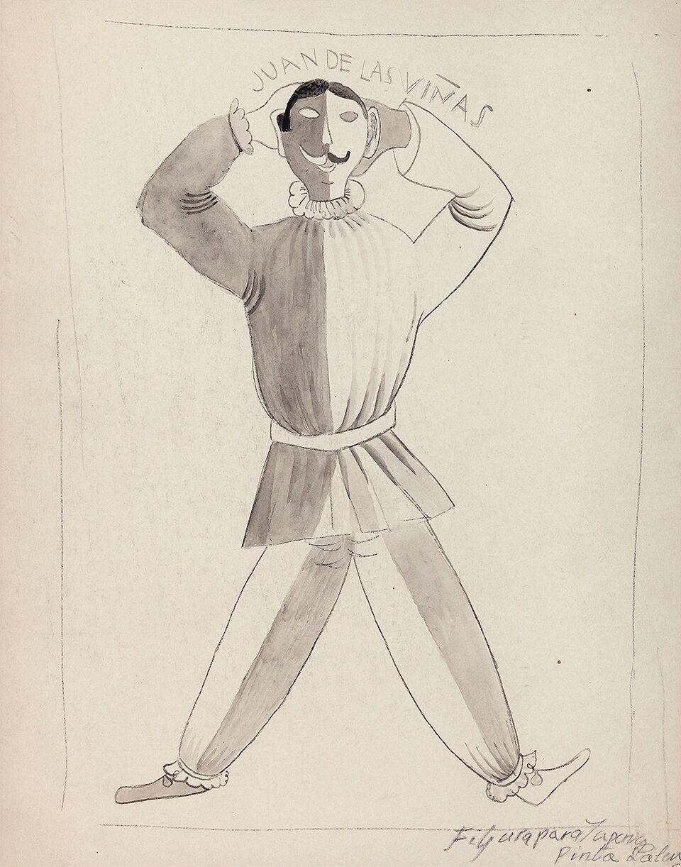 Benjamín Palencia. Juan de las Viñas, figurín para la Pájara Pinta de Rafael Alberti. Galería Guillermo de Osma