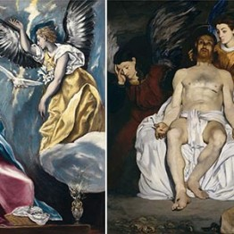 El Greco. La Anunciación, hacia 1600/1603. Édouard Manet. Cristo muerto con ángeles, 1864