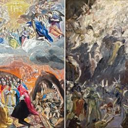 El Greco. Adoración del Nombre de Jesús (Alegoría de la Santa Liga), hacia 1577-1580. Max Beckmann. Estudio para la resurrección 1, 1907