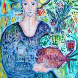 Miguel Herrero. Dama con pez, 1987