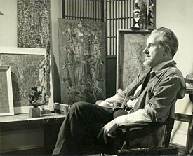 Mark Tobey en su estudio, 1949. Cortesía de Arthur Lyon Dahl. Fotografía: Larry Novak